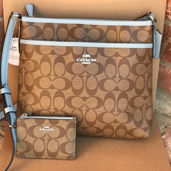 7f2822b73 Coach Bags | Signature Khaki Blue Crossbody Wallet Set | Poshmark